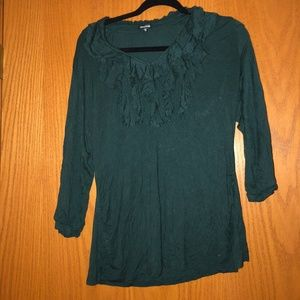 Maurice's Green Ruffle Shirt XL